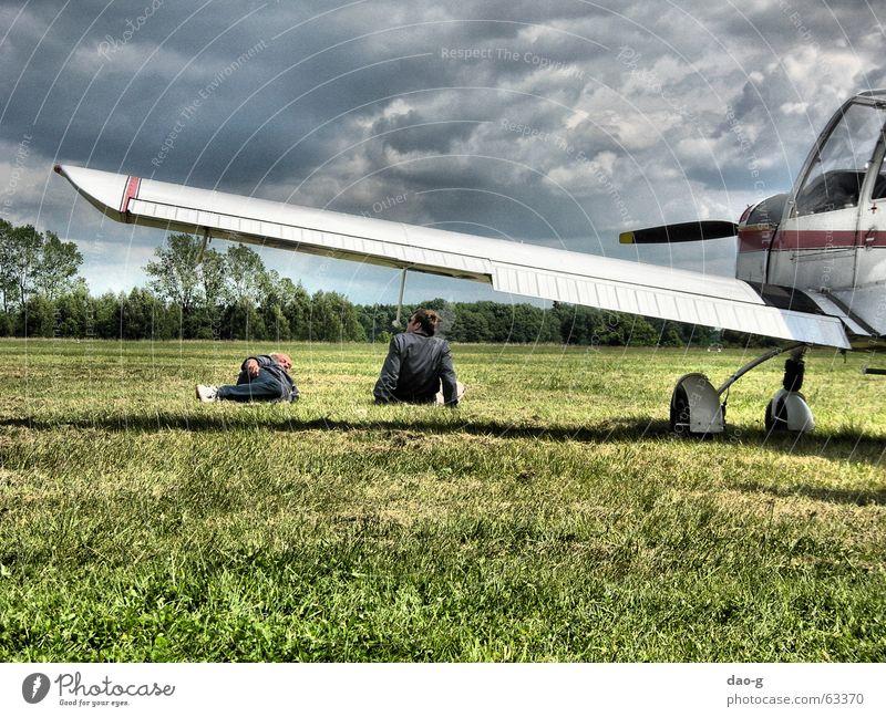 pause Airplane Meadow Man Friendship To talk Break Clouds Lie Sky