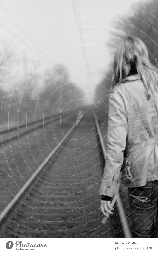 christian Railroad tracks Loneliness Grief Suicide Lovesickness Black & white photo Calm Contentment Back Electricity Train station Woman blonde girl
