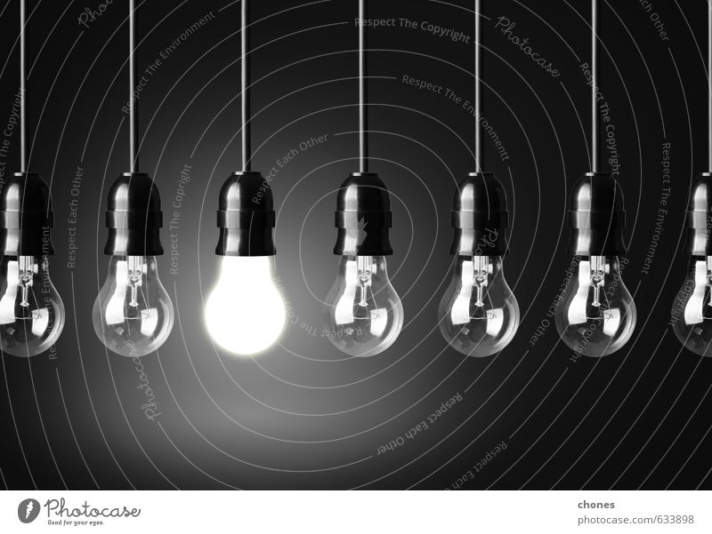 Idea concept on black background Design Lamp Technology Bright Black Energy Creativity Conceptual design Photography Electric innovation Illuminate power