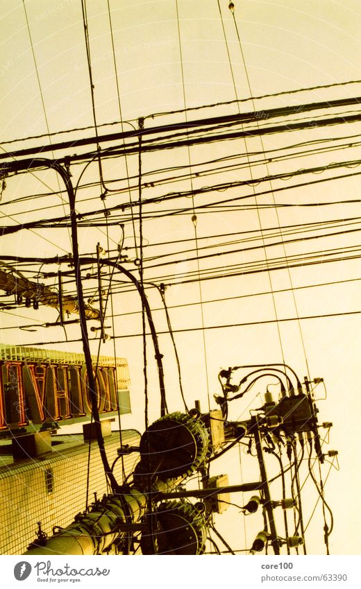 japan cable Japan Electricity Abstract Fine Physics Neon sign Chaos Cable Town Fat Warmth Sky Tall Delivery person Energy industry