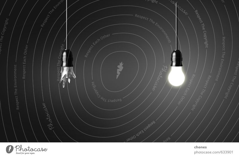 One broken and one glowing bulb Design Lamp Technology Industry Bright Green Black White Energy Idea Creativity background break Conceptual design Electric