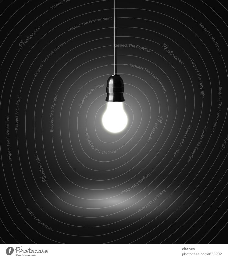 glowing hanging light bulb on a wire Black Lamp Bright Design Photography Energy Technology Creativity Industry Idea Symbols and metaphors Illuminate Household