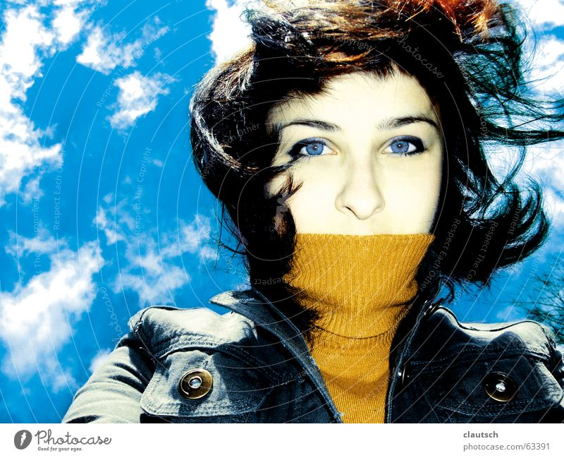 Woman Sky Blue Summer Clouds Hair and hairstyles Jump Wind Gale Blow Blown away Sweater Seasons Roll-necked sweater