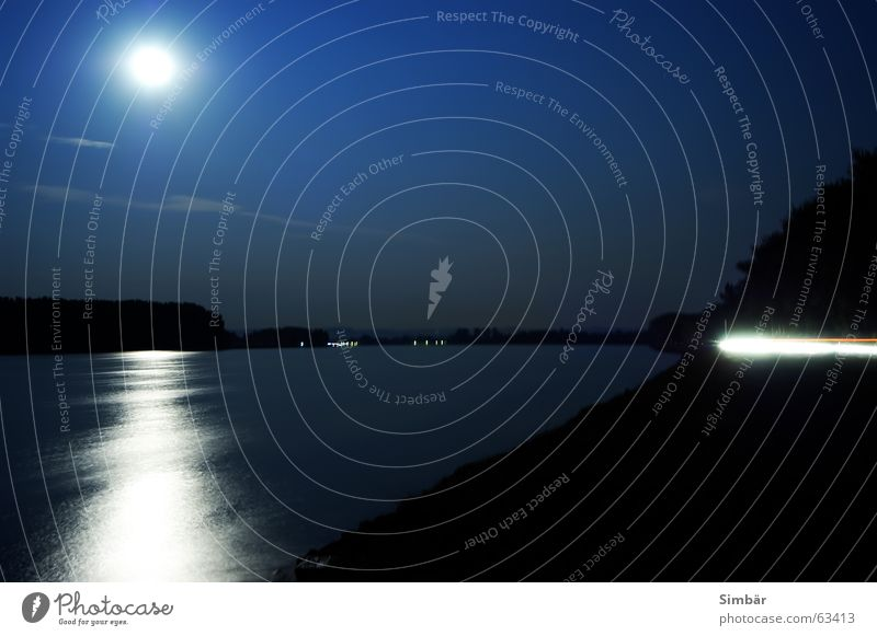 Sun Night Ocean Light Long exposure Time Watercraft Calm Exciting Reading River Brook Moon Sky Blue Danube Coast Light (Natural Phenomenon) Lawn
