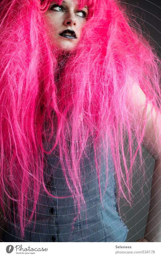 PINk Hair and hairstyles Face Make-up Lipstick Feasts & Celebrations Carnival Human being Feminine Woman Adults 1 Long-haired Wig Wild Pink Carnival costume