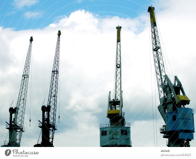 Sky White Blue Clouds Yellow Steel Weight Crane Production Shipyard