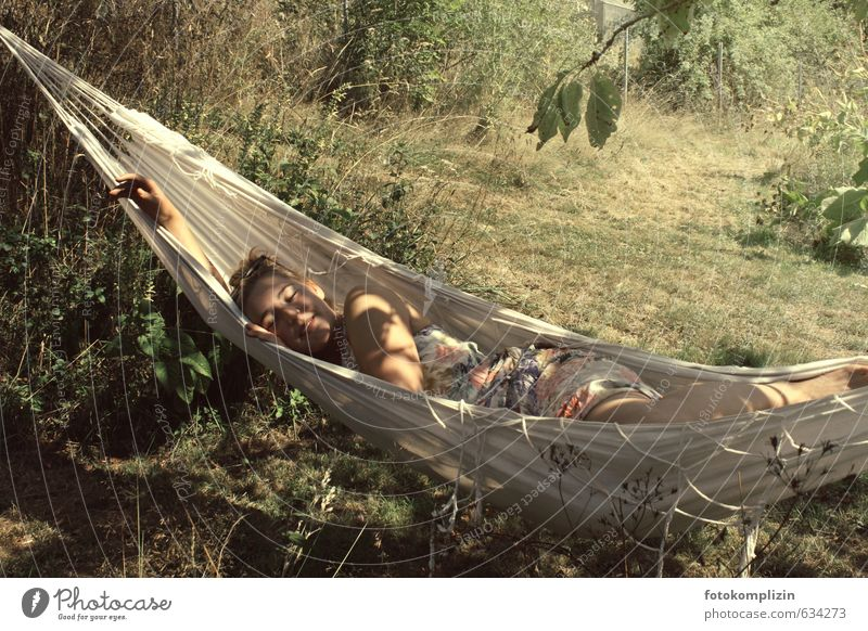 dream summer Well-being Relaxation Calm Summer Garden Hammock Feminine Young woman Youth (Young adults) 1 Human being 18 - 30 years Adults Nature