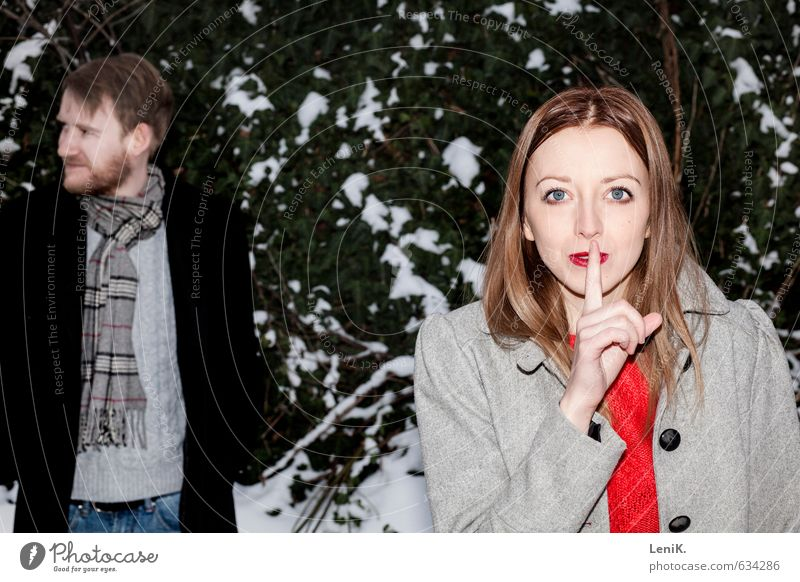 Human being Christmas & Advent Green Red Calm Joy Winter Snow Love Playing Couple Together Crazy Curiosity Attachment Hide