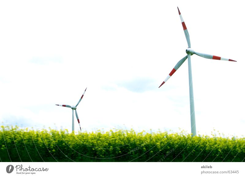 windmills Red White 2 Twin Green Wind Wind energy plant Sky Landscape Energy industry