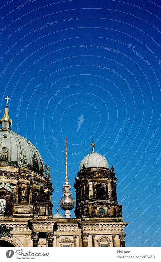 berlin blue Museum island Round Middle Berlin television tower Sky Blue Sphere Baroque Far-off places Architecture