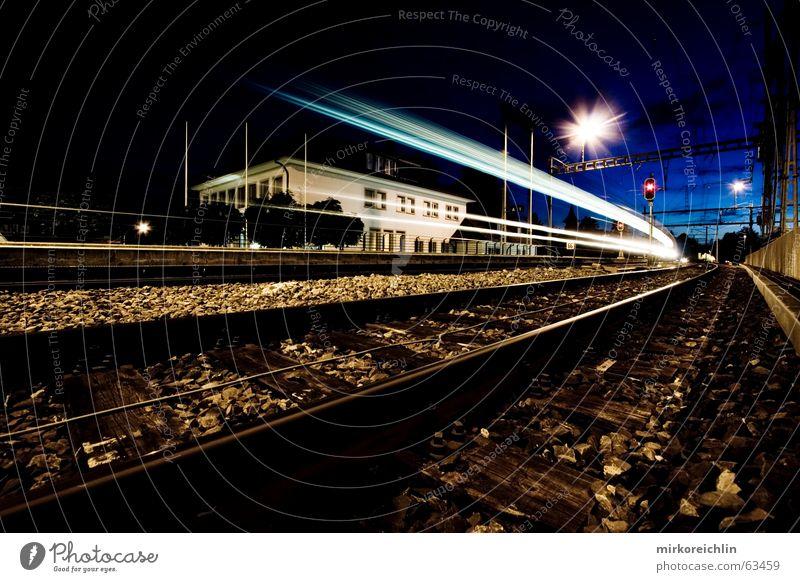 Night train. 2! Railroad Long exposure Speed Light Clear Lighting Blue bigway Sky Success Wind