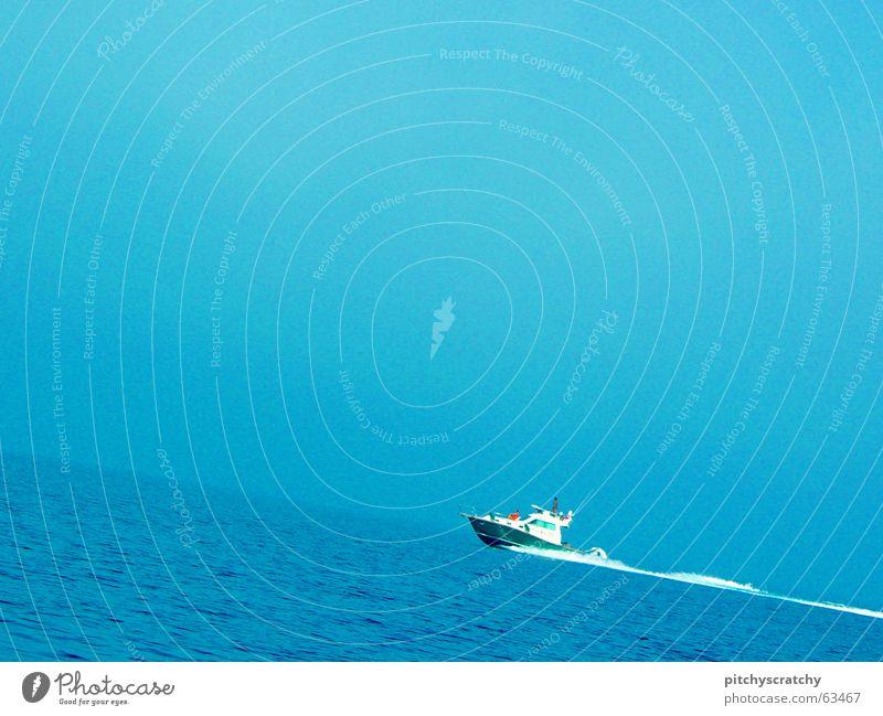Water Ocean Blue Above Watercraft Upward Navigation Against Mediterranean sea Fishing boat Motor barge Tug