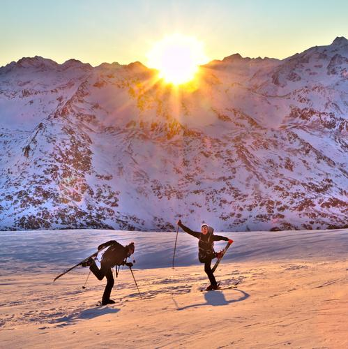 Human being Nature Youth (Young adults) Sun Landscape Joy 18 - 30 years Winter Adults Mountain Snow Movement Sports Happy Exceptional Moody