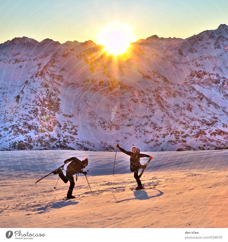 SunGlacier Lifestyle Joy Happy Sports Climbing Mountaineering Skiing Skis Ski run Human being Masculine 18 - 30 years Youth (Young adults) Adults Nature