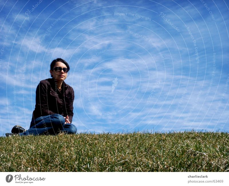 girl on lawn Sky woman grass glasses sunglasses clouds