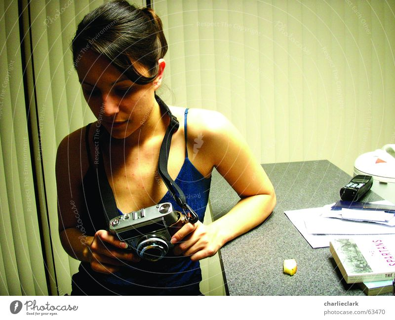 camera girl Photography woman girl with camera old camera optima home the moment before the snaps are taken Interior shot