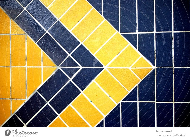 Blue Yellow Wall (building) Point Tile Arrow Train station Symbols and metaphors Commuter trains