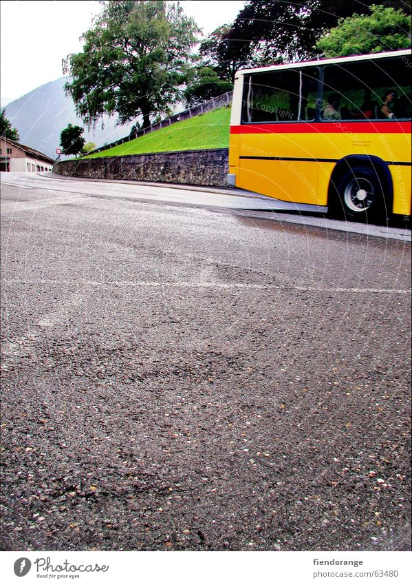 Tree Red Yellow Street Mountain Lanes & trails Beginning Switzerland Alps Bus Wanderlust Partially visible