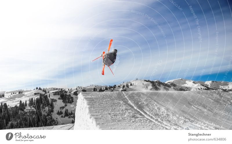 backflip Lifestyle Sports Sportsperson Skiing Skis Freestyle Free skiing Ski run Ski jump kicker Human being Masculine Environment Landscape Sky Alps Mountain