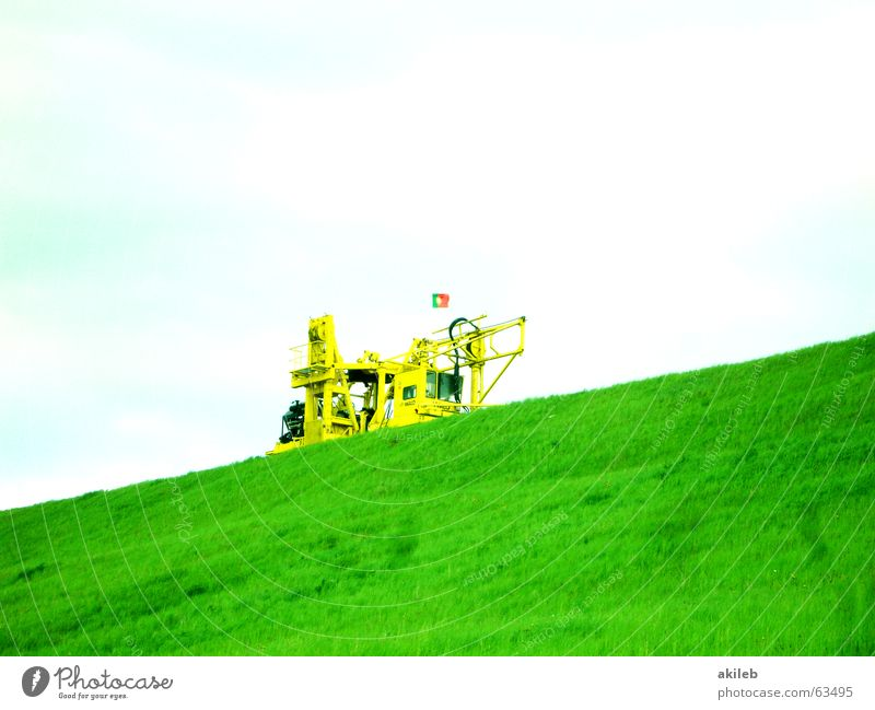 Sky Green Clouds Yellow Lawn Hill Diagonal Excavator Dam
