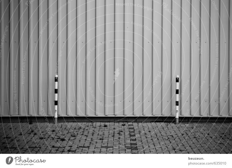 two(n)sameness. Industrial plant Wall (barrier) Wall (building) Facade Lanes & trails Pole Stone Concrete Metal Line Disappointment Black & white photo