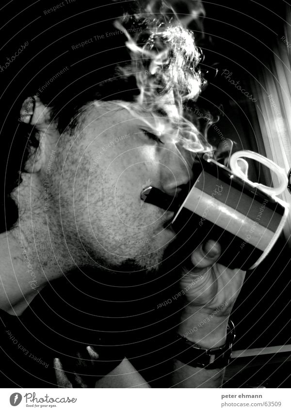 Perfect Breakfast - Coffee and Cigarettes Cup Smoke Drinking To enjoy Hot Sense of taste Caffeine Hand Mug Man Steam Face