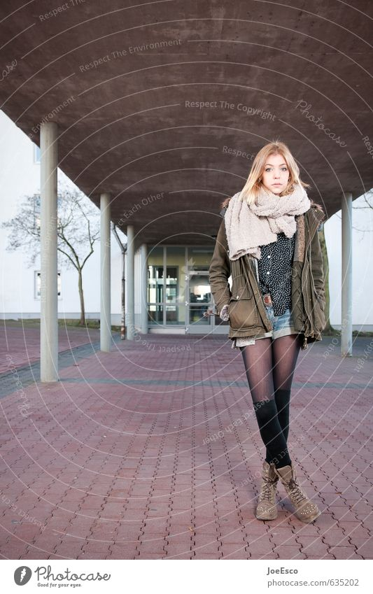 #635202 Lifestyle Style School Academic studies Examinations and Tests Woman Adults 1 Human being Building Fashion Jacket Stockings Scarf Blonde Think Stand