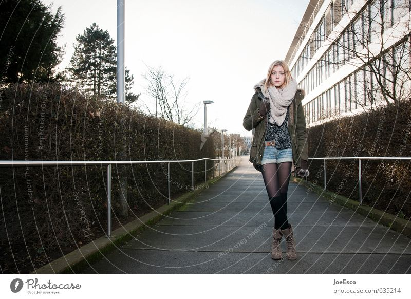 #635214 Style Education School Academic studies Study Jacket Stockings Scarf Boots Blonde Long-haired Stand Wait Free Hip & trendy Uniqueness Cold Beautiful