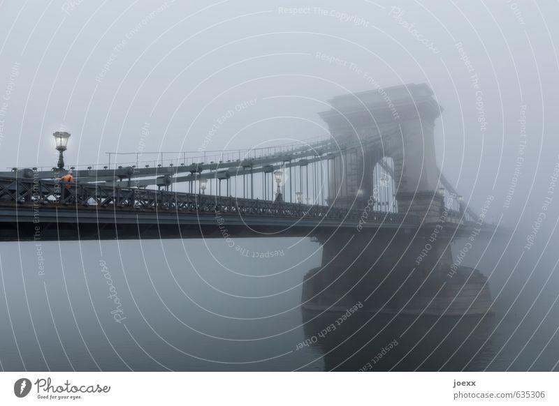 Old Beautiful Water Black Gray Fog Large Bridge River Street lighting Tourist Attraction Suspension bridge