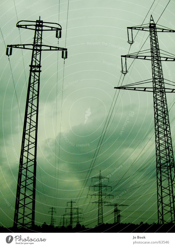 Sky Green Clouds Electricity Steel Electronic High voltage power line Electricity generating station Power transmission