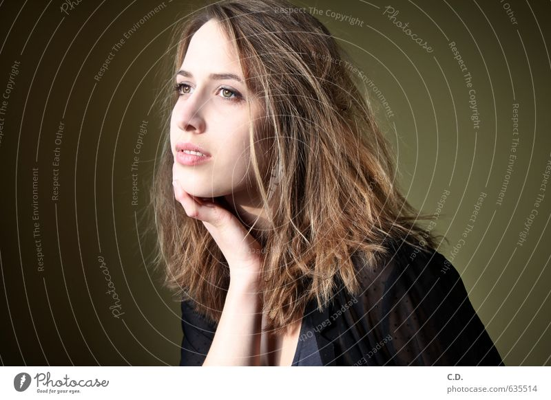 Youth (Young adults) Beautiful Young woman 18 - 30 years Adults Head Dream Meditative Brunette Daydreamer