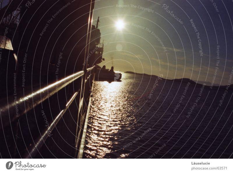 Water Sun Ocean Summer Mountain Watercraft Greece Dazzle Seaman In transit Ferry Sunset