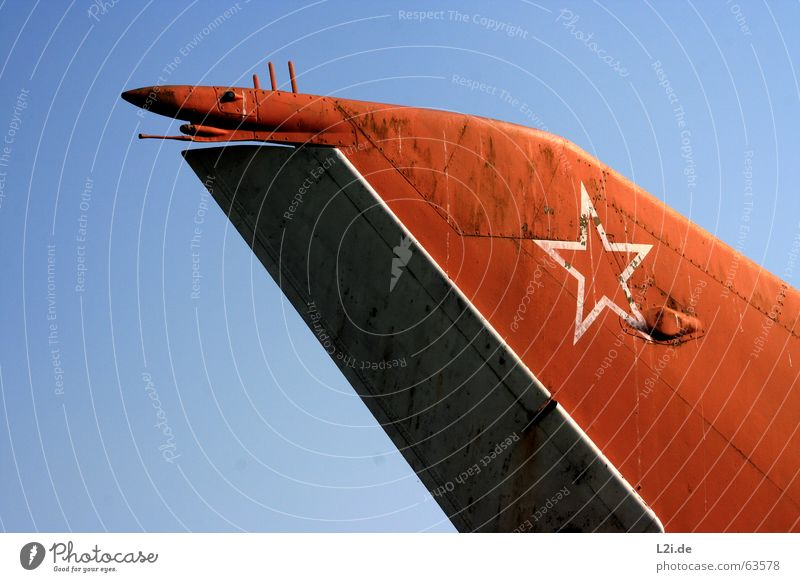 TAIL FIN Tailfin Airplane Planning Red tail Rust Star (Symbol) Blue Flying Sky Wing Rivet Old Wreck