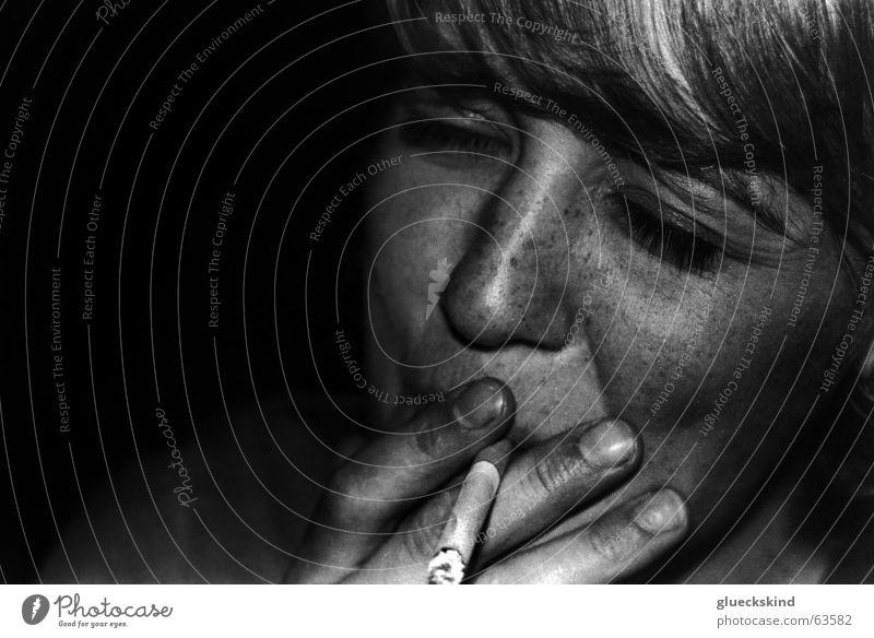 metal smoke Woman Cigarette Night Freckles Dark Blonde Feminine Smoke Search Smoking black-white. shade