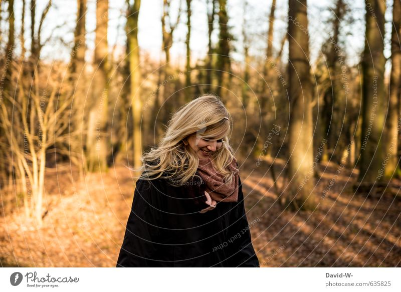 smiley-faced happy young woman fortunate Autumnal In love Blonde pretty Young woman Forest