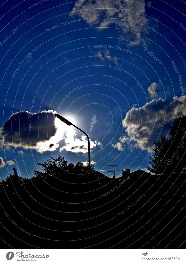 cloud kisses lamp Clouds Street lighting Moody Tree Dark Night Sky Blue Sun