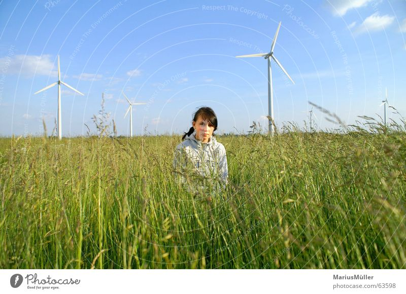 Nature Girl Green Blue Summer Meadow Grass Field Renewable energy Science & Research Idyll Wind energy plant Ecological Human being