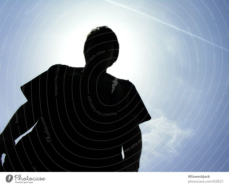 The Great Unknown Man Black Shadow Bad weather Concealed Awareness Exterior shot Torso Silhouette Foreign Large Might Dark Forwards Sky Blue Clouds