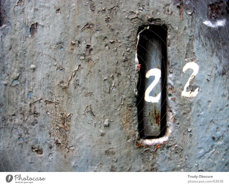 postcard no. 22 Background picture Surface Iron Digits and numbers Letters (alphabet) Derelict Weathered Oxydation Metal Amount Old Rust