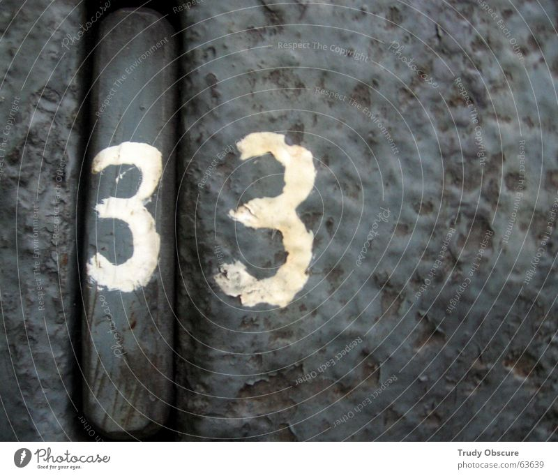 postcard no. 33 Background picture Surface Iron Digits and numbers Derelict Weathered Oxydation Metal Amount Old Rust