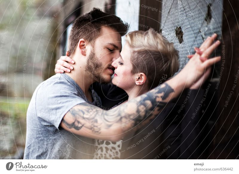 passion Feminine Young woman Youth (Young adults) Young man Couple 18 - 30 years Adults Hip & trendy Kissing Passion Love Colour photo Exterior shot Day