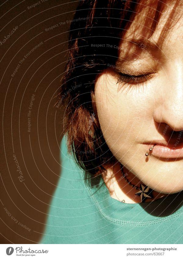 helped Half Portrait photograph Woman Face of a woman Piercing Lip piercing Closed eyes To enjoy Brunette half page portrait Sun