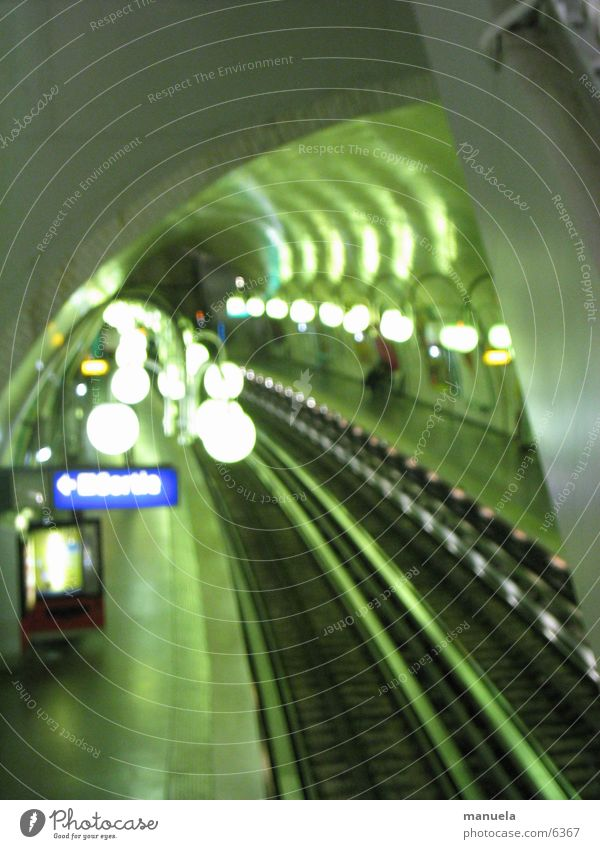 Paris Metro Tunnel Railroad tracks Lamp Green Blur Mysterious Europe Underground Light Display