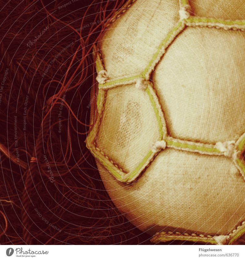 inside football Leisure and hobbies Ball Sewing Stitching Net Colour photo Interior shot Close-up Detail Rope Surface structure Round Hexagon Deserted
