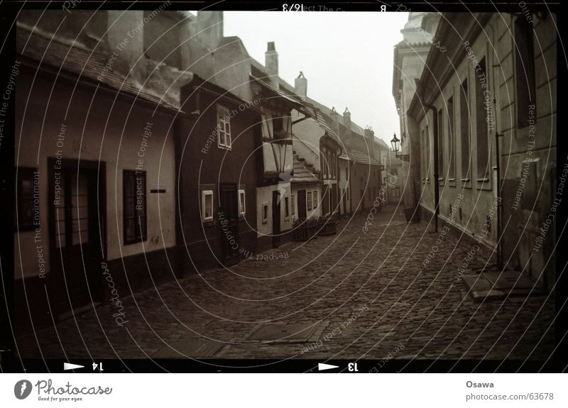 Hradcany 4:20 am Golden Alley Prague House (Residential Structure) Town Quarter Pavement Downtown Village Traffic infrastructure Landmark Monument Historic