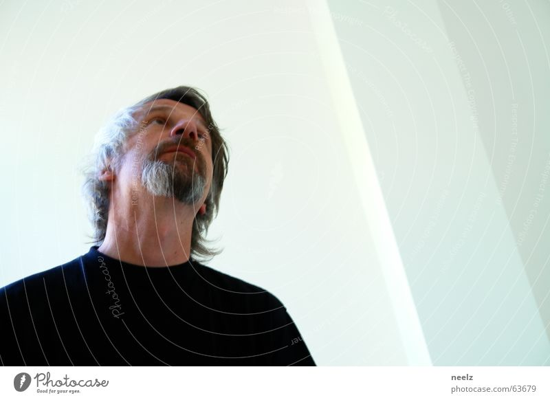 Man White Black Above Gray Mirror Longing Facial hair Mirror image