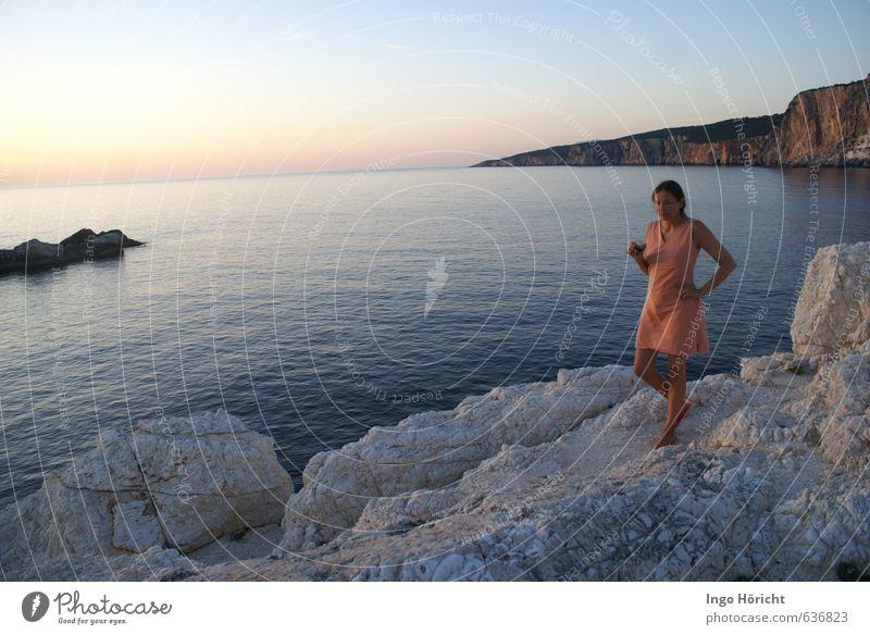 After Sunset Landscape Water Sunrise Summer Ocean Dress Relaxation Drinking Blue Orange Romance Wanderlust Vacation & Travel Joie de vivre (Vitality) Moody