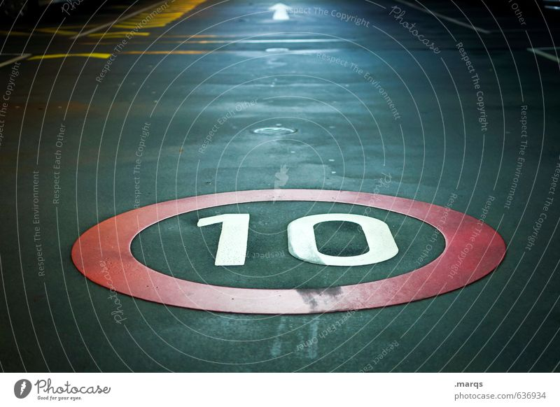 10 Transport Traffic infrastructure Street Lanes & trails Road sign Underground garage Sign Digits and numbers Signs and labeling Arrow Driving Dark Simple