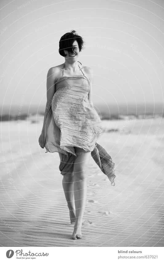 facilité Art Esthetic Contentment Woman Self-confident Laughter Desert Photo shoot Rag Bikini Landscape Woman's leg Walking Model Freedom Ease