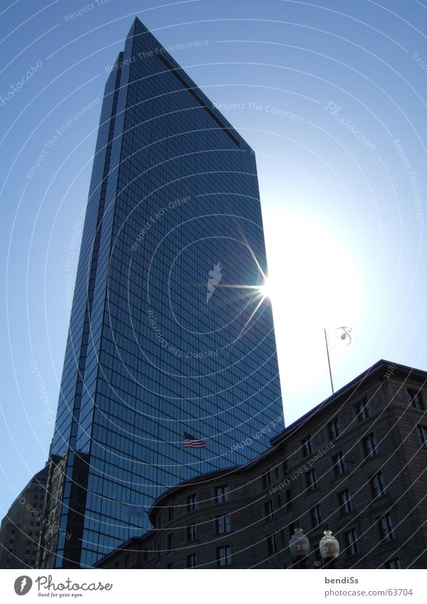 Sun Blue High-rise New USA Mirror To break (something) Blue sky High-tech Glas facade Boston East coast New England Massachusetts John Hancock Tower